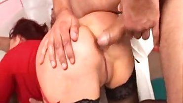 Annie - Hot Sexy Red MILF in Hardcore Gangbang - More at www.VeryHotCamGirls.com