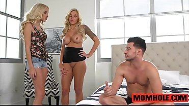Milf Nina Elle and Naoimi Woods swap cum