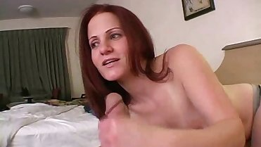 Redhead mature mom in her first handjob porn 1
