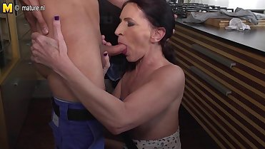 Mom son hot sex in kitchen and bedroom