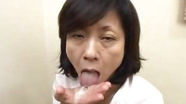 Japanese Mom Sucks Swallows & Squirts