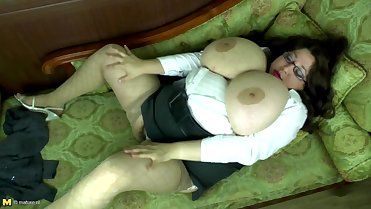 Petite mom with so huge boobs and hairy pussy