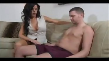 Mom Jerks Not Son for a Huge Cum-daddi