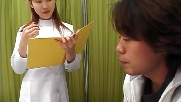Rina Usui horny nurse takes patient cock in mouth and in pussy