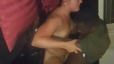 Amateur BBC loving wife on her knees sucking black cock and fucking