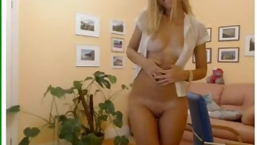 Pretty blonde mature striptease